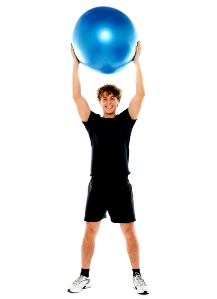 Man with big ball over his head